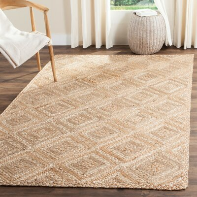 Abrahams Hand-Woven Beige Area Rug Rug Size: Rectangle 9 x 12