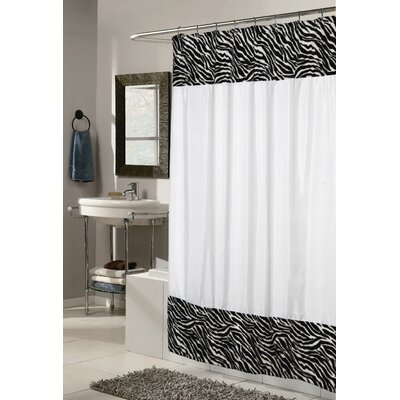 Shadai Faux Fur Trimmed Animal Print Shower Curtain