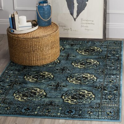 Parthenia Blue Area Rug Rug Size: 53 x 76