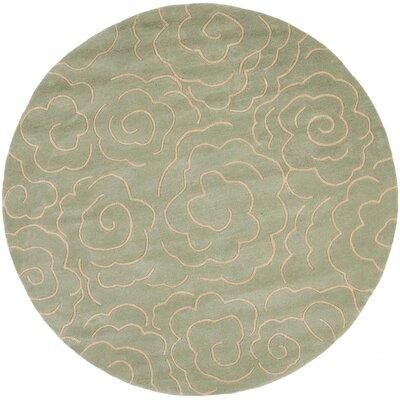 Tatyana Soft Light Blue/Ivory Area Rug Rug Size: Round 6