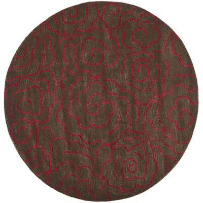 Tatyana Chocolate/Red Area Rug Rug Size: Round 6
