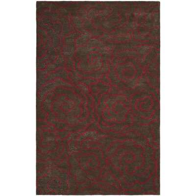 Amara Chocolate/Red Area Rug Rug Size: 76 x 96