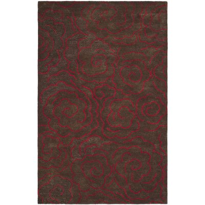 Tatyana Chocolate/Red Area Rug Rug Size: 36 x 56