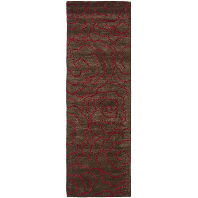 Tatyana Chocolate/Red Area Rug Rug Size: Runner 26 x 8