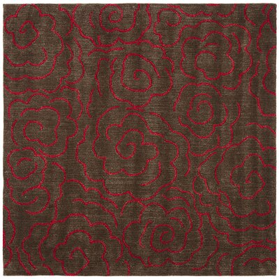 Amara Chocolate/Red Area Rug Rug Size: Square 6