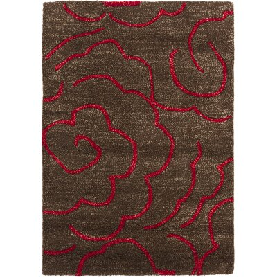 Amara Chocolate/Red Area Rug Rug Size: 2 x 3