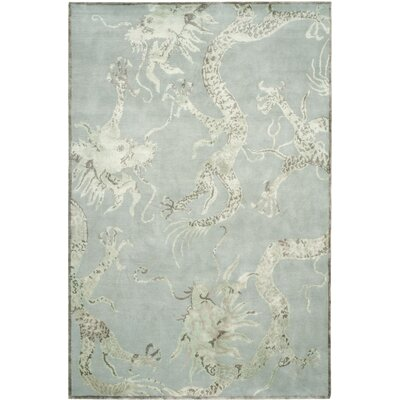Emmett Hand-Knotted Ocean Area Rug Rug Size: 6 x 9