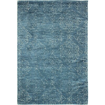 Saxonburg Hand-Tufted Teal Area Rug Rug Size: 36 x 56
