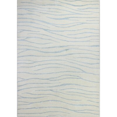 Francisco Hand-Tufted White/Aqua Area Rug Rug Size: 36 x 56