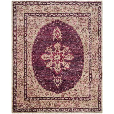 Asbury Hand-Knotted Fuchsia/Beige Area Rug Rug Size: Rectangle 8 x 10