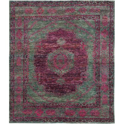 Elise Hand-Knotted Slate Green/Fuchsia Area Rug Rug Size: Rectangle 4 x 6