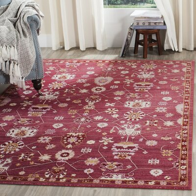 Emma Fuchsia Floral Area Rug Rug Size: Rectangle 6 x 9