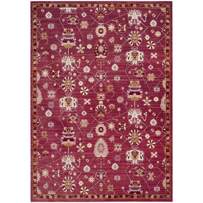 Emma Fuchsia Floral Area Rug Rug Size: Rectangle 8 x 10