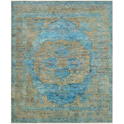 Elise Hand-Knotted Teal/Beige Area Rug Rug Size: Rectangle 4 x 6