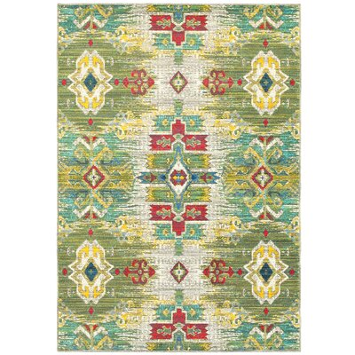 Saige Yellow/Green/Red Area Rug Rug Size: 67 x 96