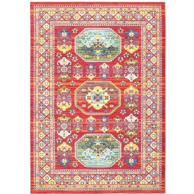 Saige Red Area Rug Rug Size: 53 x 76