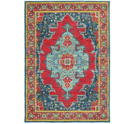 Saige Blue/Red Area Rug Rug Size: 53 x 76
