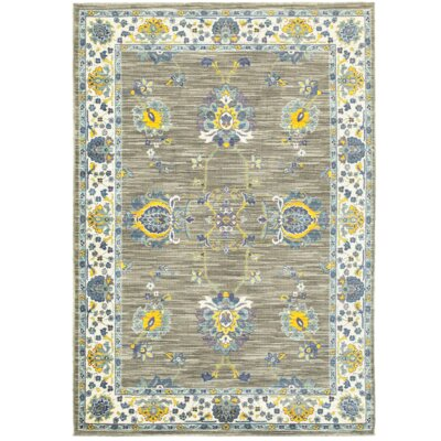 Saige Gray/Yellow Area Rug Rug Size: Rectangle 53 x 76