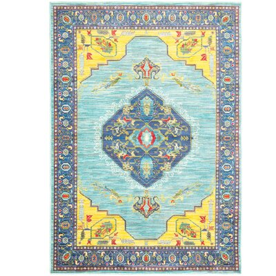 Saige Blue/Yellow Area Rug Rug Size: Rectangle 53 x 76