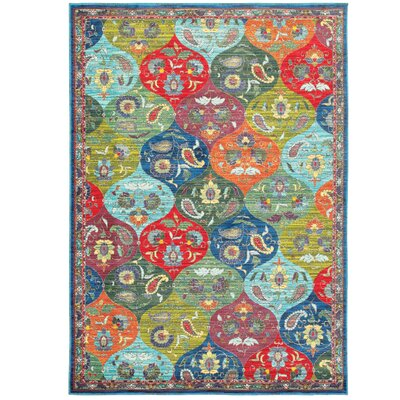 Saige Floral Red Area Rug Rug Size: Rectangle 910 x 1210