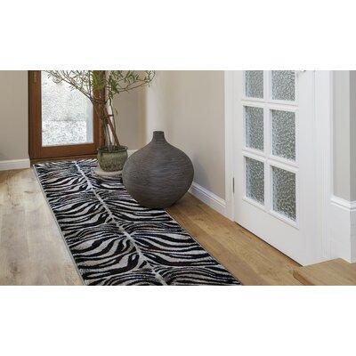 Abdellah Black/Ivory Area Rug Rug Size: Round 52