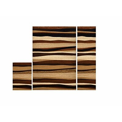 Edolie 3 Piece Brown Area Rug Set