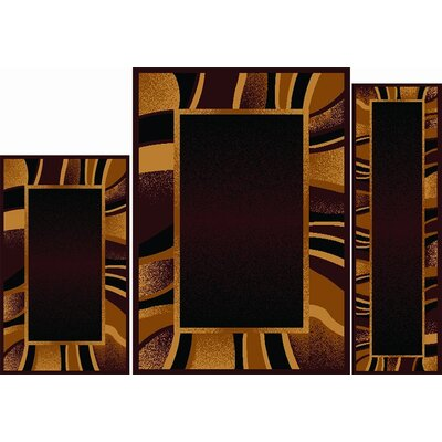 Elana 3 Piece Brown Area Rug Set