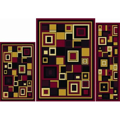 Elana 3 Piece Red Area Rug Set