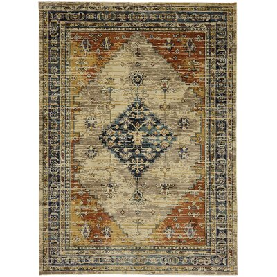 Daubenton Beige/Slate Blue Area Rug Rug Size: Rectangle 96 x 1211