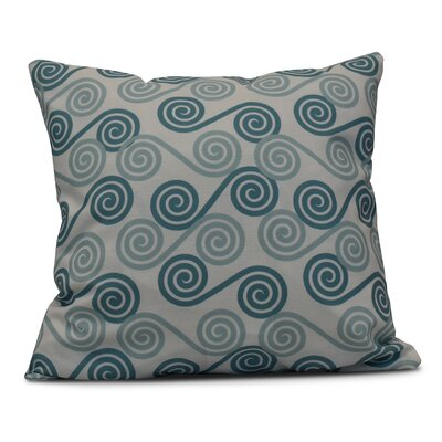 Nikkle Rip Curl Throw Pillow Size: 26 H x 26 W, Color: Aqua