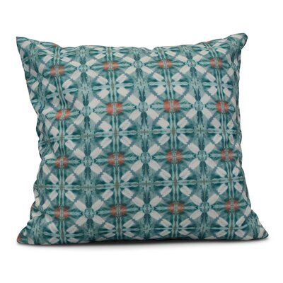 Rafia Beach Tile Throw Pillow Color: Aqua, Size: 26 H x 26 W
