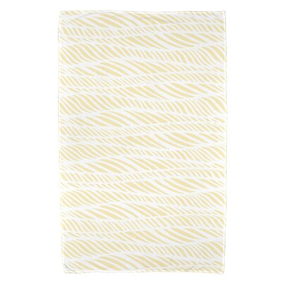 Rafia Rolling Waves Bath Towel Color: Yellow
