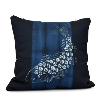 Rafia Fish Pool Indoor/Outdoor Throw Pillow Color: Navy Blue, Size: 20 H x 20 W