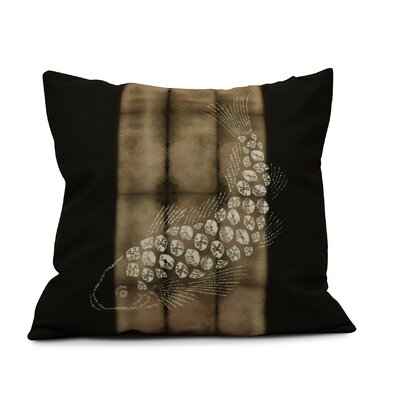 Viet Fish Pool Indoor/Outdoor Throw Pillow Size: 18 H x 18 W, Color: Brown