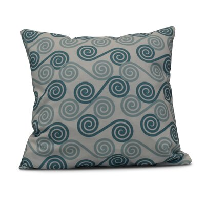 Nikkle Rip Curl Indoor/Outdoor Throw Pillow Size: 18 H x 18 W, Color: Aqua