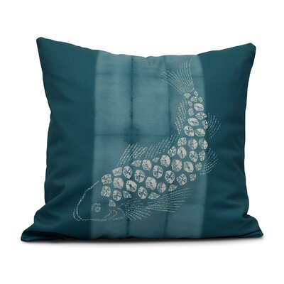 Viet Fish Pool Throw Pillow Size: 18 H x 18 W, Color: Teal