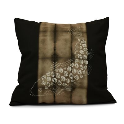 Viet Fish Pool Throw Pillow Size: 16 H x 16 W, Color: Brown