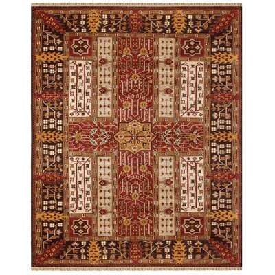 Ruiz Red/Ivory Area Rug Rug Size: Rectangle 5'6