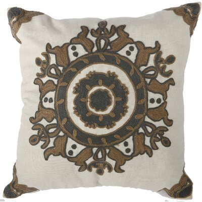 Chemaia Embroidered Cotton Throw Pillow Color: Gray