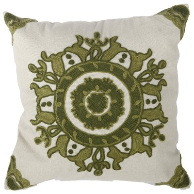 Chemaia Embroidered Cotton Throw Pillow Color: Green