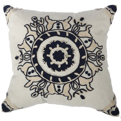 Chemaia Embroidered Cotton Throw Pillow Color: Blue