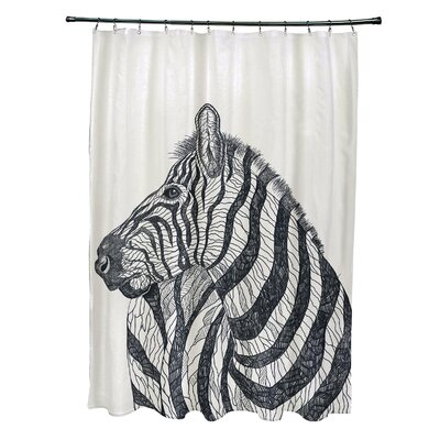 Karle Shower Curtain Color: Off White/ Black