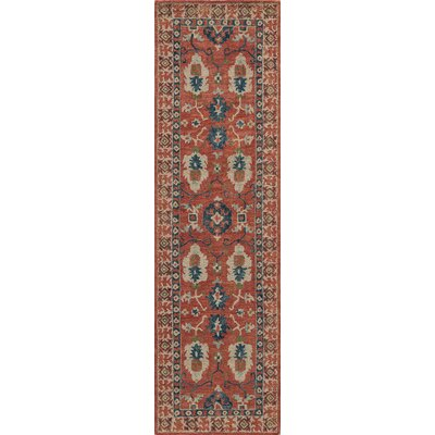Adilet Hand-Hooked Red Area Rug Rug Size: Rectangle 36 x 56