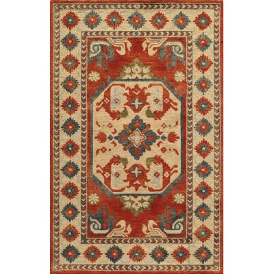 Adilet Hand-Hooked Wool Ivory Area Rug Rug Size: Rectangle 76 x 96