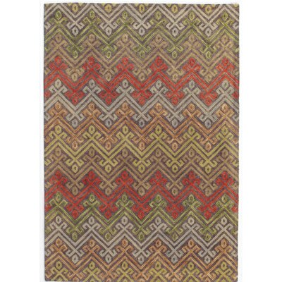 Adilet Hand-Hooked Orange/Beige Area Rug Rug Size: Rectangle 5 x 8