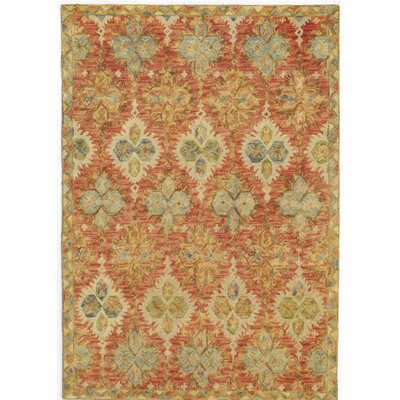 Adilet�Hand-Hooked Red Area Rug Rug Size: Rectangle 36 x 56