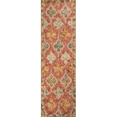Gemma�Hand-Hooked Red Area Rug Rug Size: Runner 23 x 8