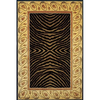 Felicity Hand-Tufted Black/Brown Area Rug Rug Size: Round 79