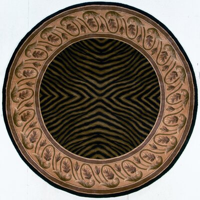 Ryanne Hand-Tufted Black/Brown Area Rug Rug Size: Round 59