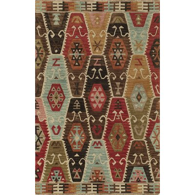 Adilet Hand-Tufted Red/Brown Area Rug Rug Size: 36 x 56